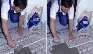 KROK V - Nakładanie szpachli klejącej na ogrzewanie podłogowe