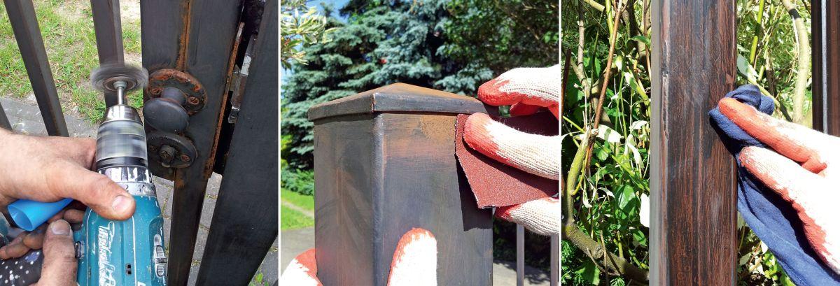 KROK II - Oczyszczanie ogrodzenia metalowego
